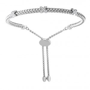 "CHARLES GARNIER - Sterling Silver and CZ ""X"" Station Bracelet"