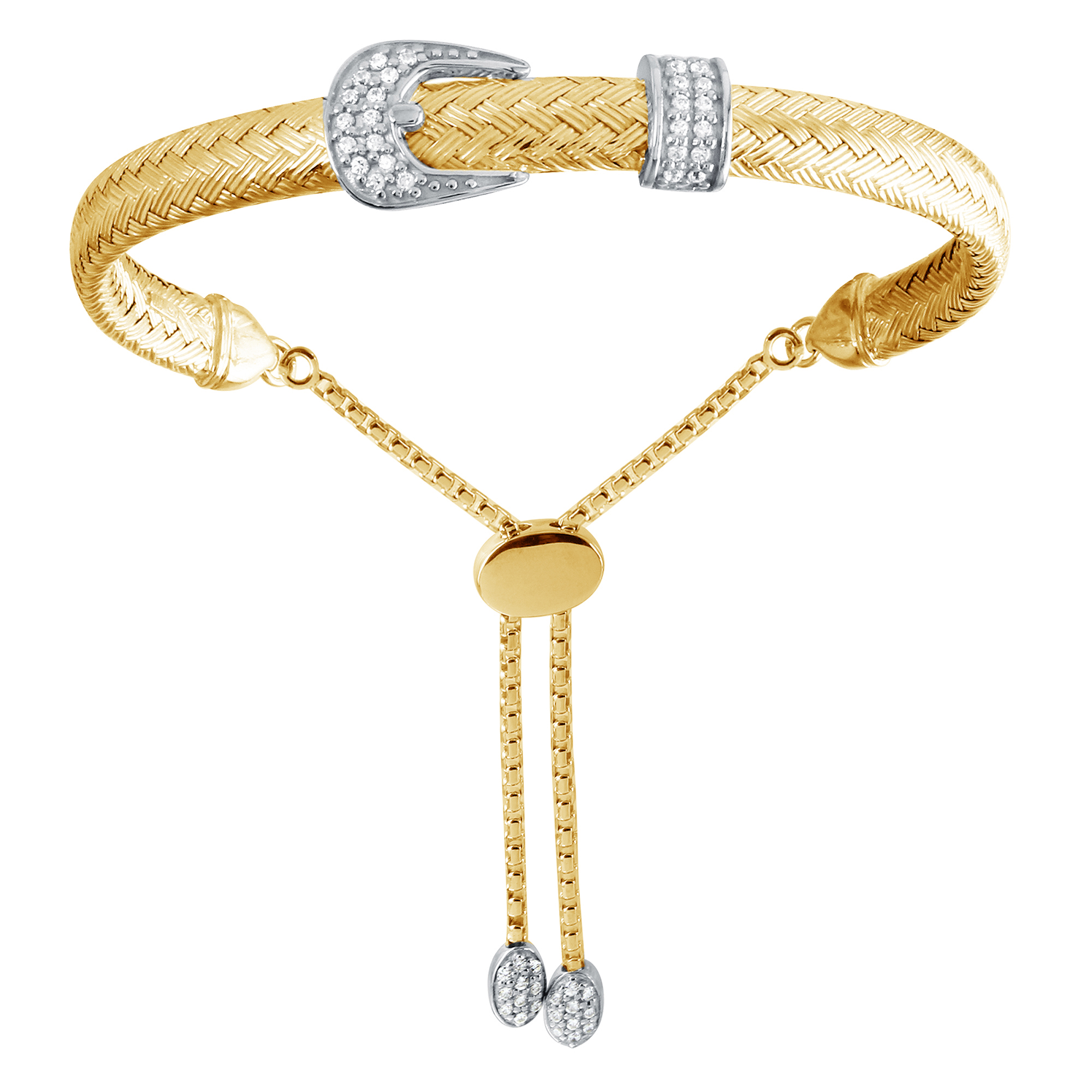 CHARLES GARNIER - Sterling Silver and CZ Buckle Bracelet