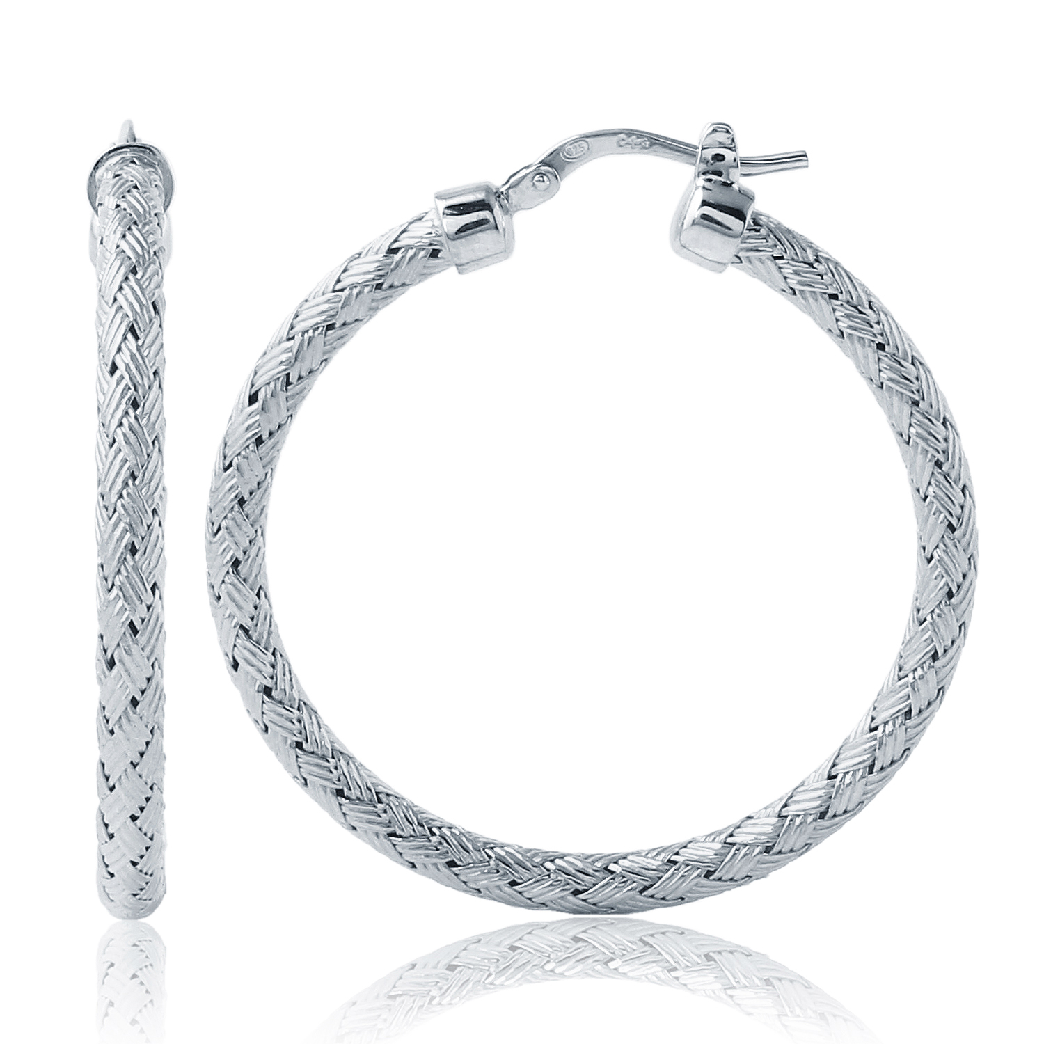 CHARLES GARNIER - Sterling Silver Hoop Earrings, 35mm