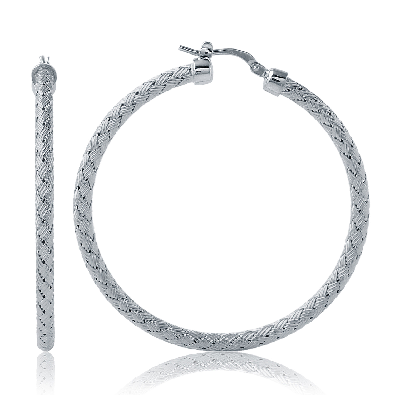 CHARLES GARNIER - Sterling Silver Hoop Earrings, 45mm