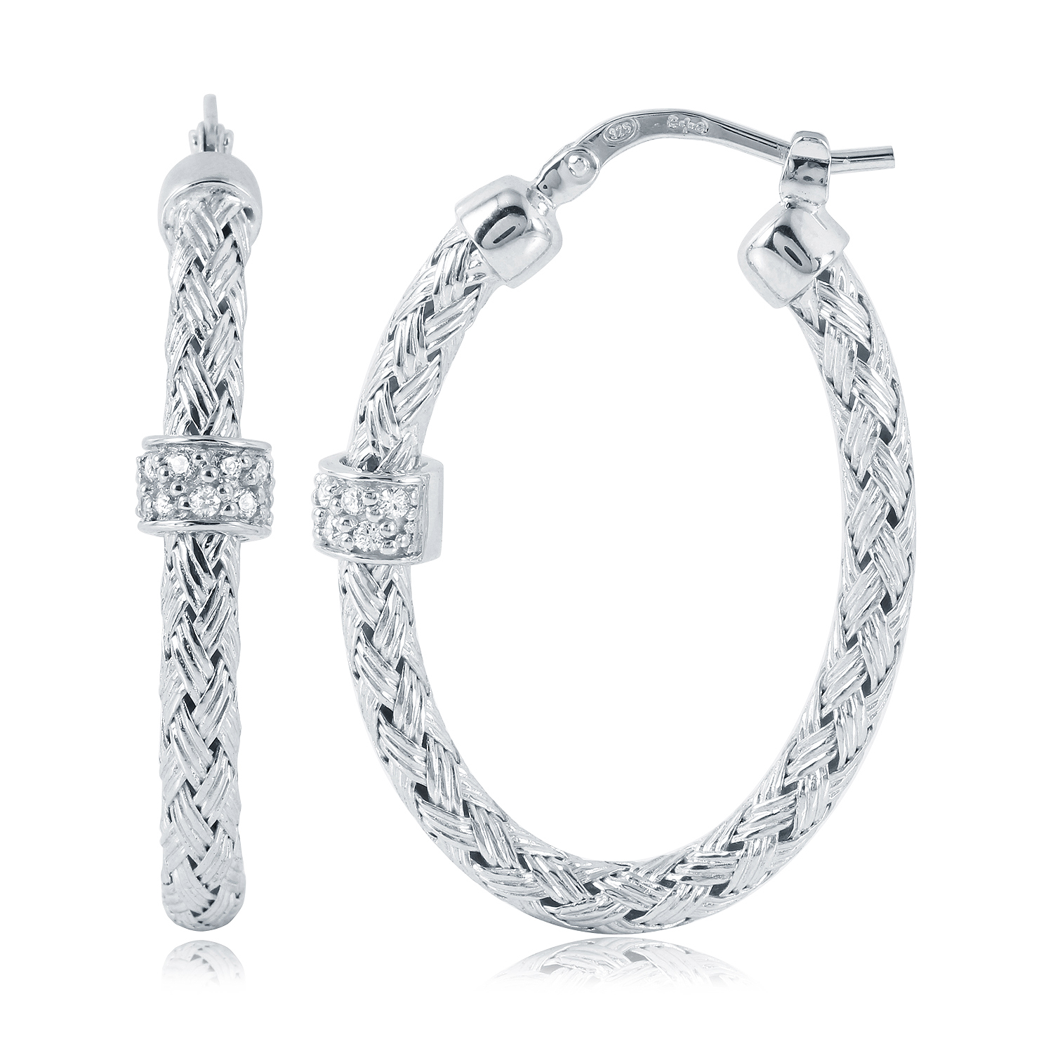 CHARLES GARNIER - Sterling Silver Oval Hoop Earrings, 35mm