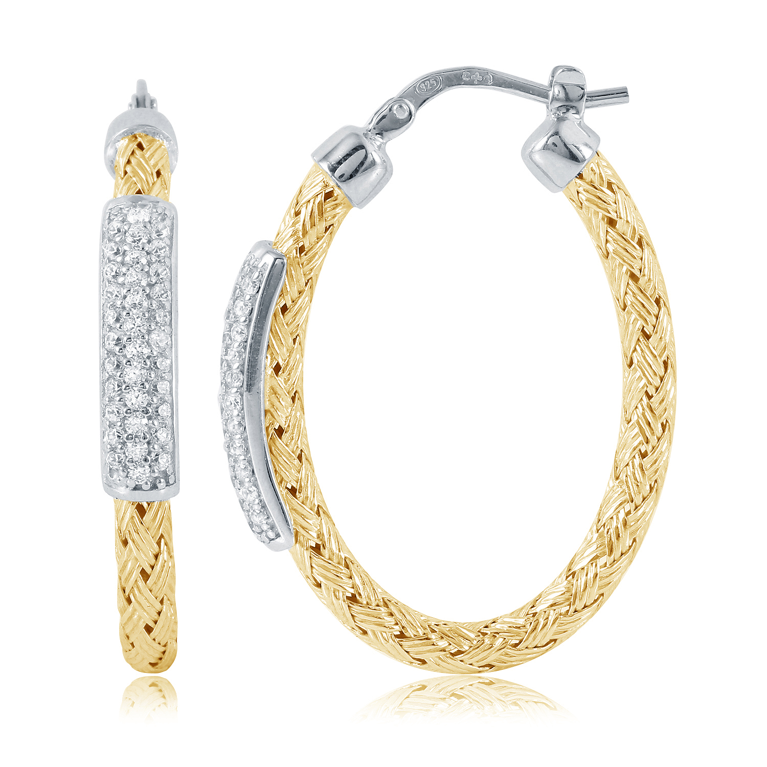 CHARLES GARNIER - Sterling Silver and CZ Hoop Earrings, 35mm