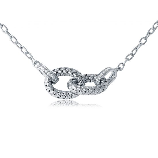 CHARLES GARNIER - Sterling Silver and CZ Link Necklace, 19""