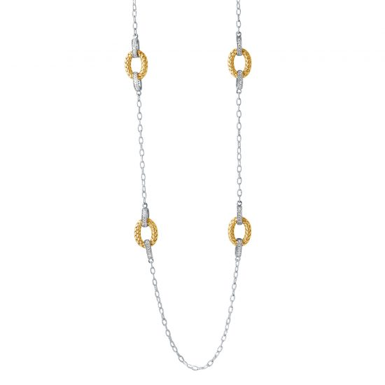 CHARLES GARNIER - Sterling Silver and CZ Link Necklace, 36""