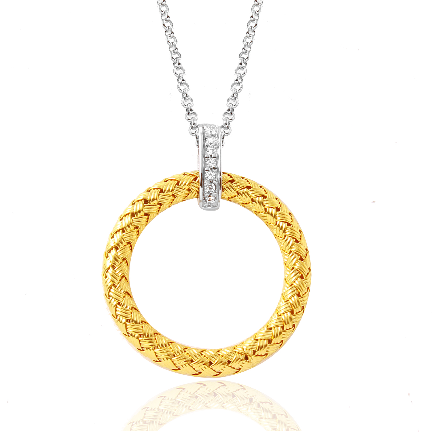 CHARLES GARNIER - Sterling Silver and CZ Round Pendant