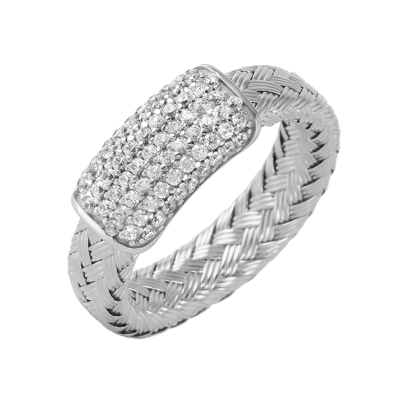 CHARLES GARNIER - Sterling Silver and CZ Bar Ring