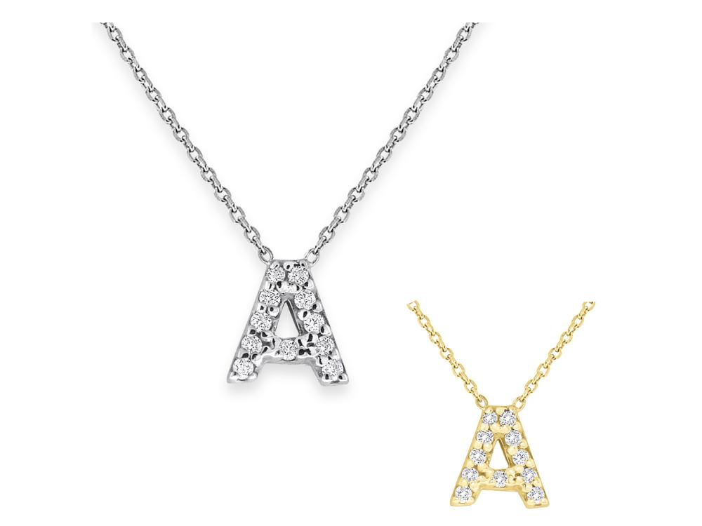 "KC DESIGNS - Diamond Bitty Block Initial ""A"" Necklace"