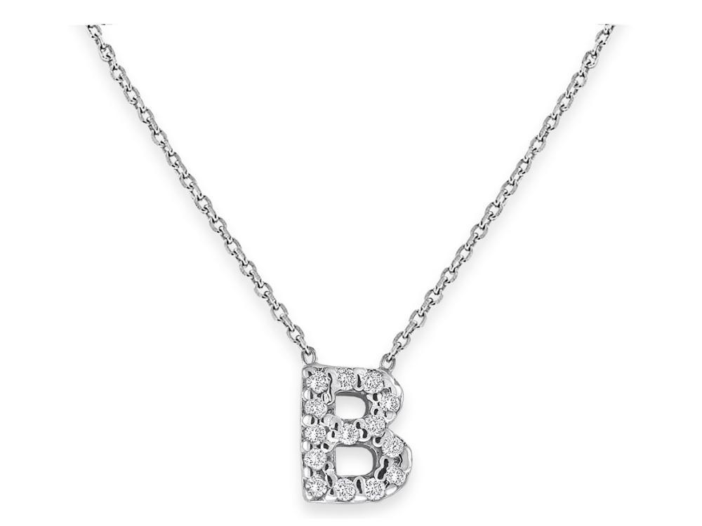"KC DESIGNS - Diamond Bitty Block Initial ""B"" Necklace"