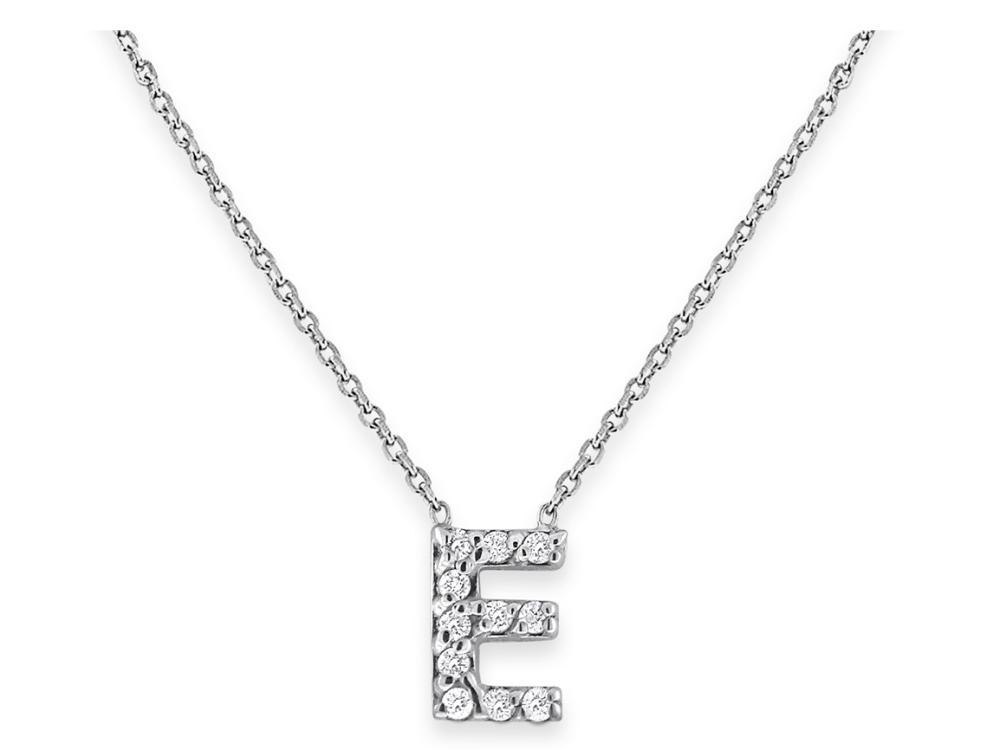 "KC DESIGNS - Diamond Bitty Block Initial ""E"" Necklace"