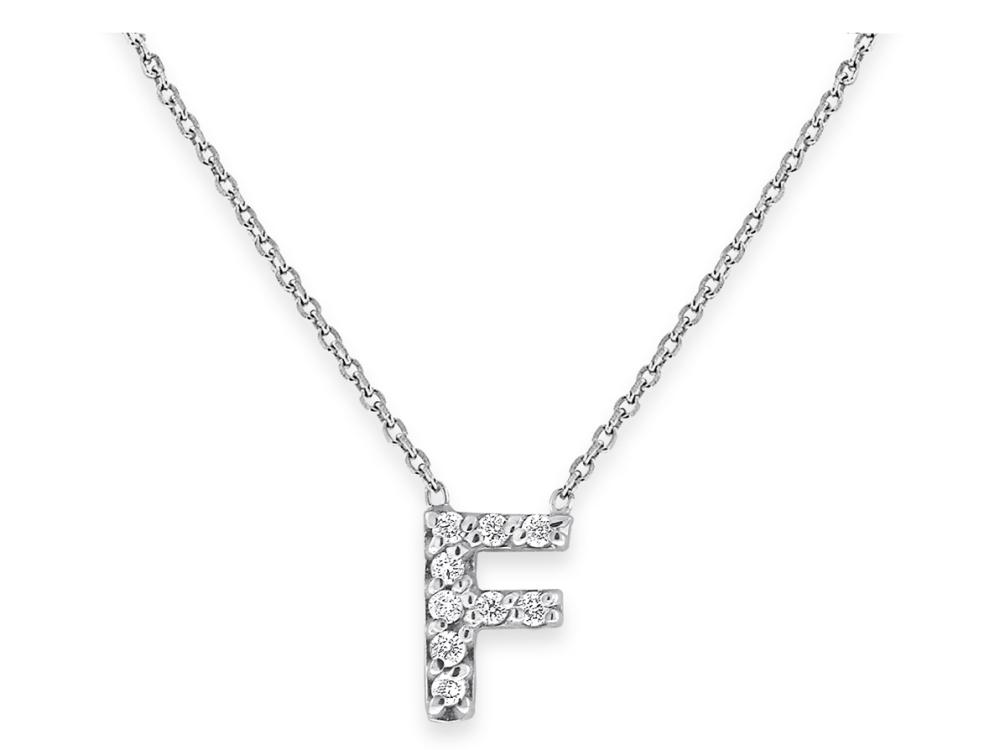 "KC DESIGNS - Diamond Bitty Block Initial ""F"" Necklace"