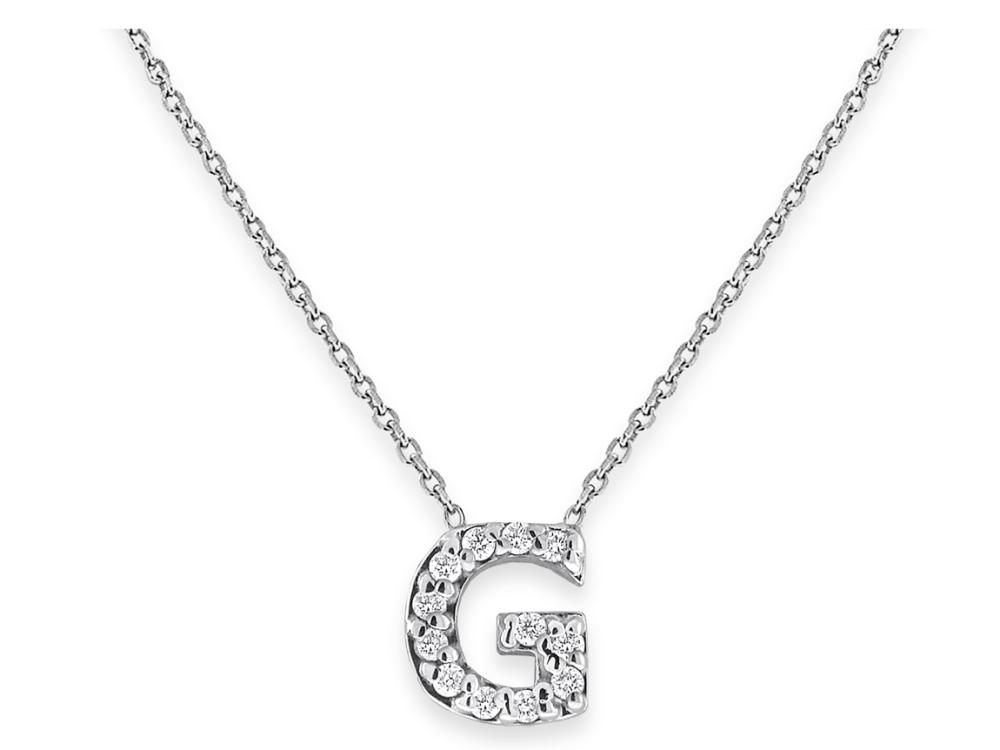"KC DESIGNS - Diamond Bitty Block Initial ""G"" Necklace"