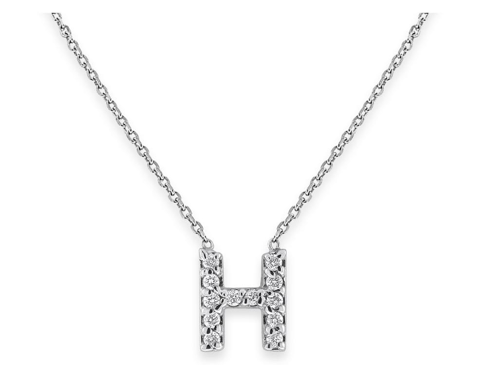 "KC DESIGNS - Diamond Bitty Block Initial ""H"" Necklace"