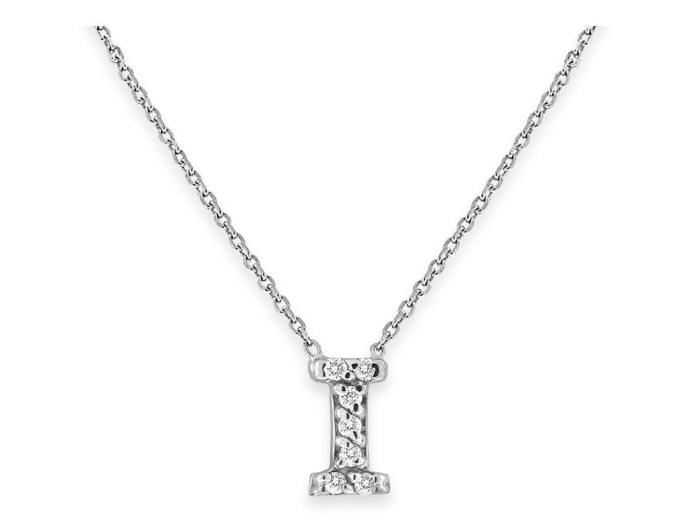 "KC DESIGNS - Diamond Bitty Block Initial ""I"" Necklace"