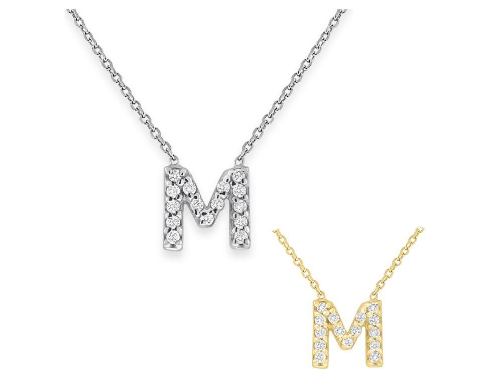 "KC DESIGNS - Diamond Bitty Block Initial ""M"" Necklace"