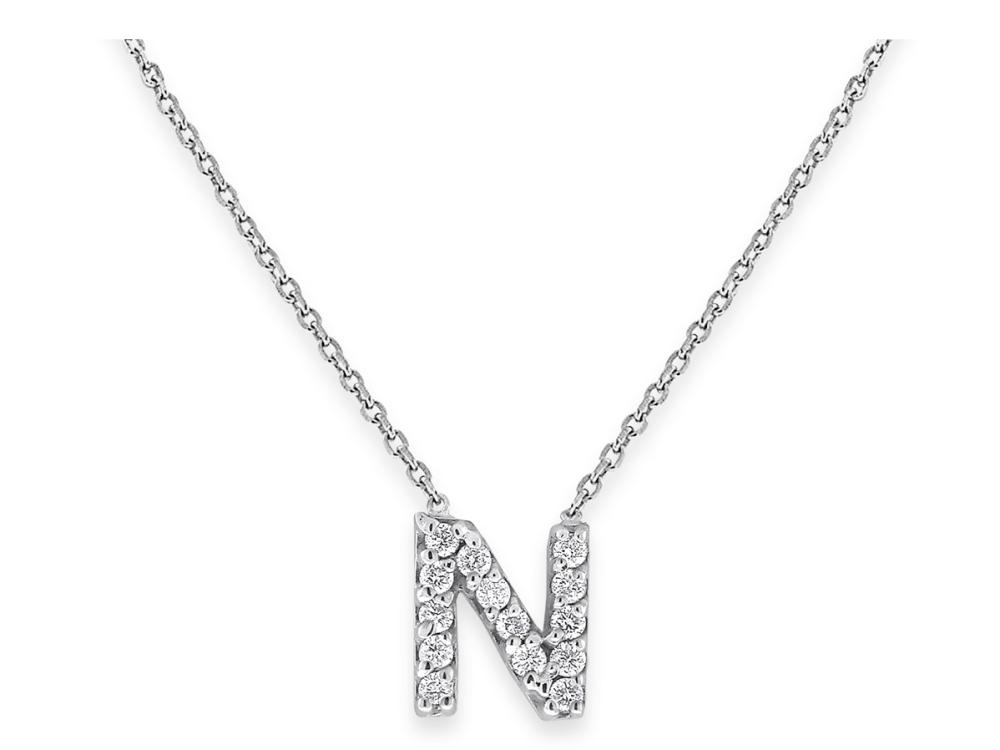 "KC DESIGNS - Diamond Bitty Block Initial ""N"" Necklace"