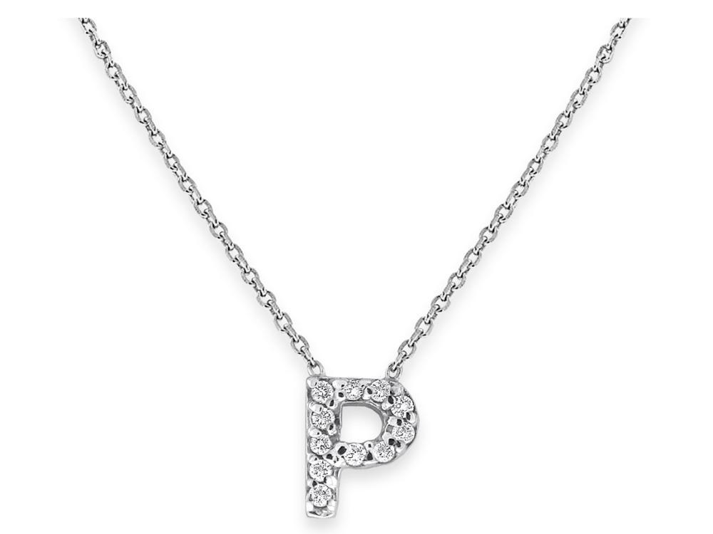 "KC DESIGNS - Diamond Bitty Block Initial ""P"" Necklace"