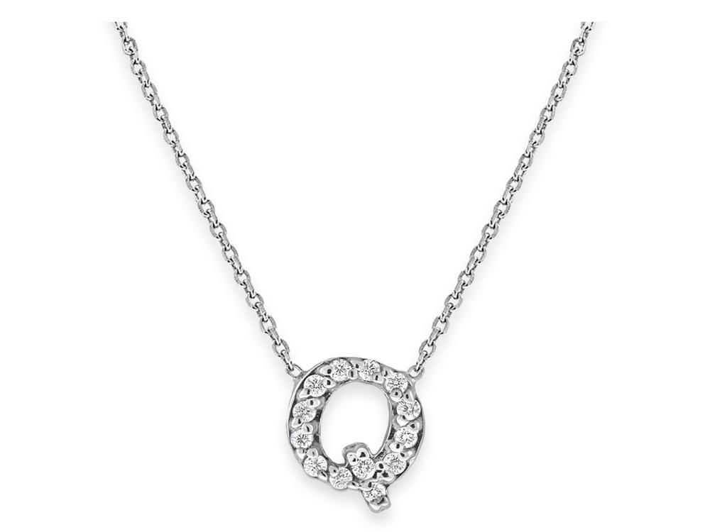 "KC DESIGNS - Diamond Bitty Block Initial ""Q"" Necklace"