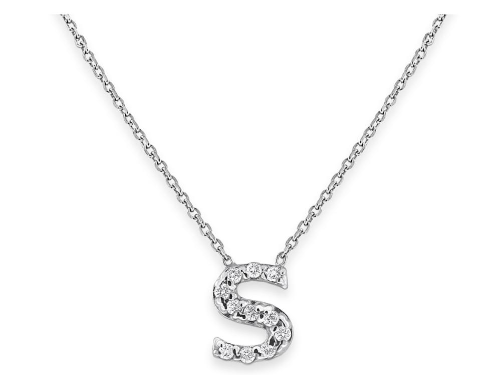 "KC DESIGNS - Diamond Bitty Block Initial ""S"" Necklace"