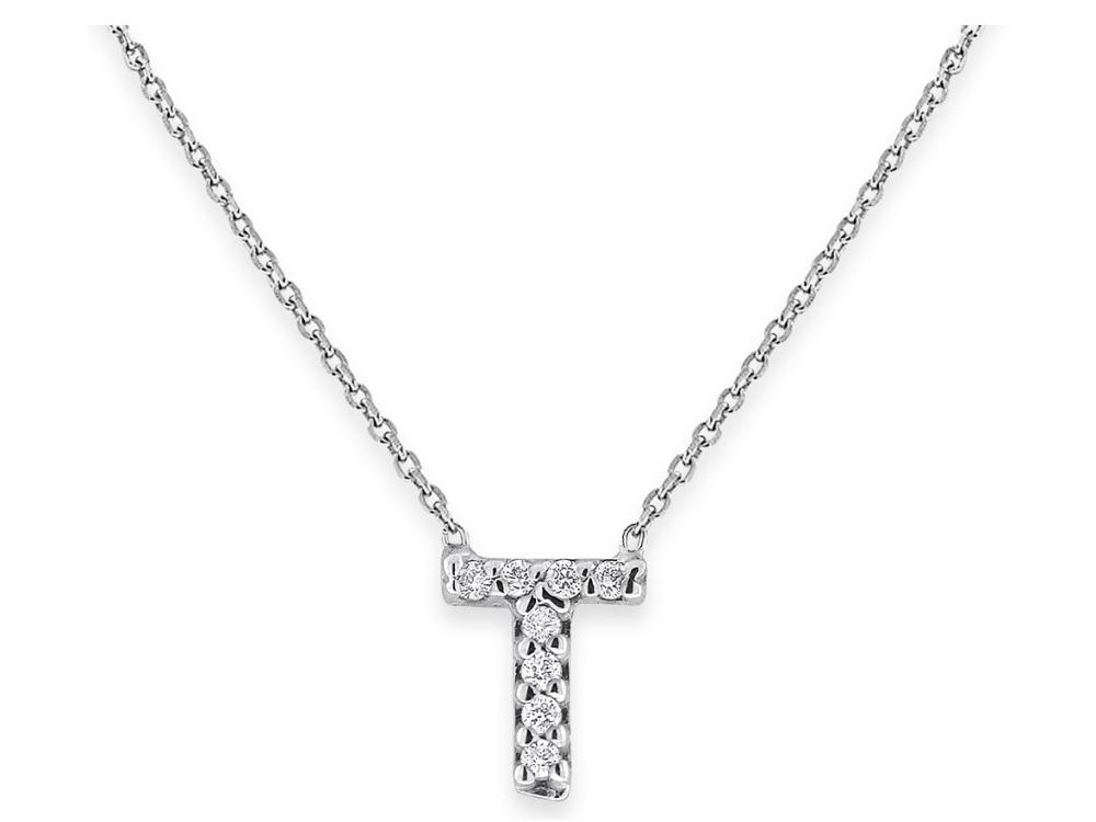 "KC DESIGNS - Diamond Bitty Block Initial ""T"" Necklace"