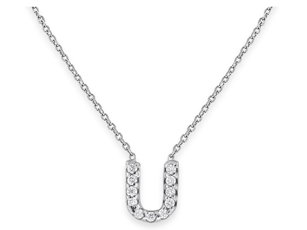 "KC DESIGNS - Diamond Bitty Block Initial ""U"" Necklace"