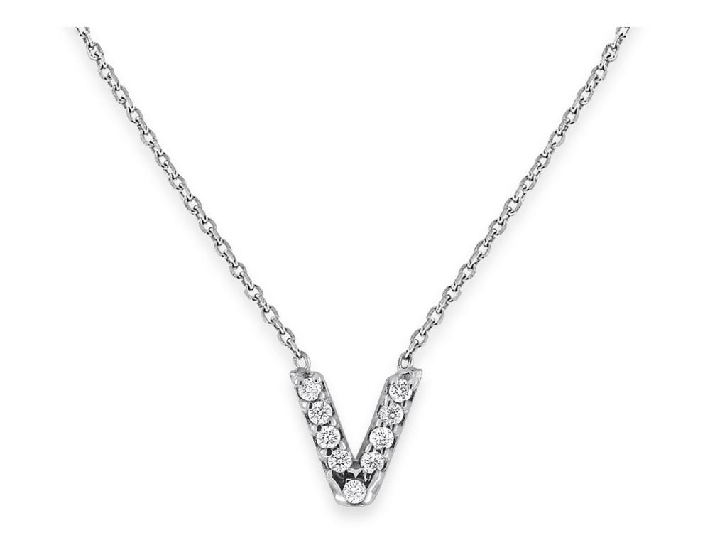 "KC DESIGNS - Diamond Bitty Block Initial ""V"" Necklace"
