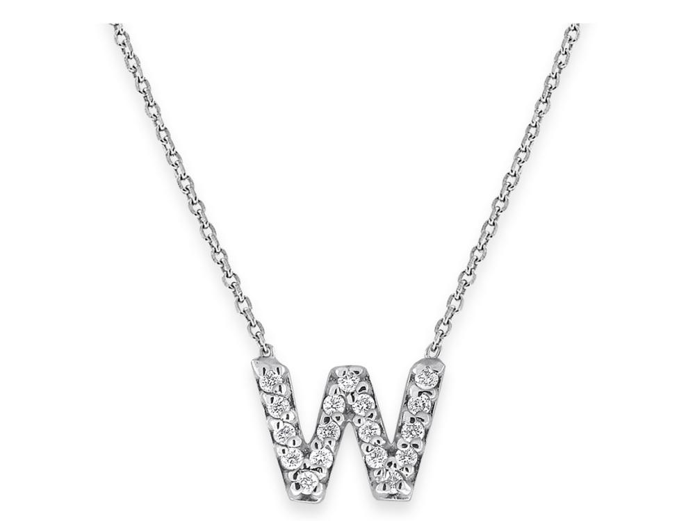 "KC DESIGNS - Diamond Bitty Block Initial ""W"" Necklace"