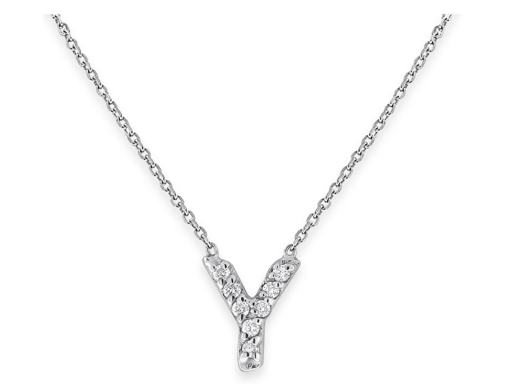 "KC DESIGNS - Diamond Bitty Block Initial ""Y"" Necklace"