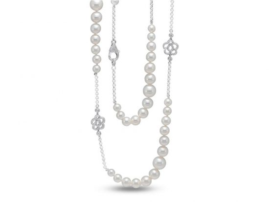 MASTOLONI - 18K White Gold 6-10.5MM White Round Cultured Pearl Necklace 2.2 TCW 35 Inches
