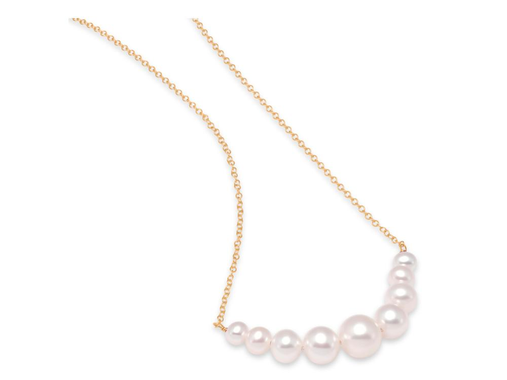 MASTOLONI - 14K Yellow Gold 4-8MM White Near Round Freshwater Pearl Necklace 18 Inches