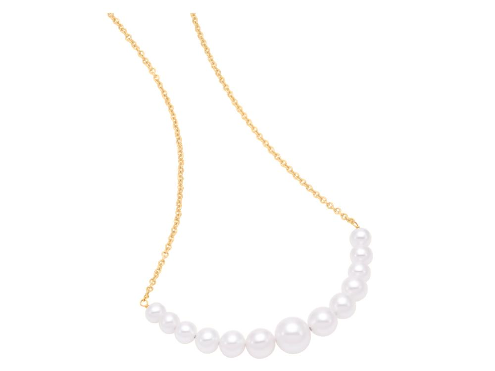 MASTOLONI - 14K Yellow Gold 4.5-8MM White Near Round Freshwater Pearl Necklace 18 Inches