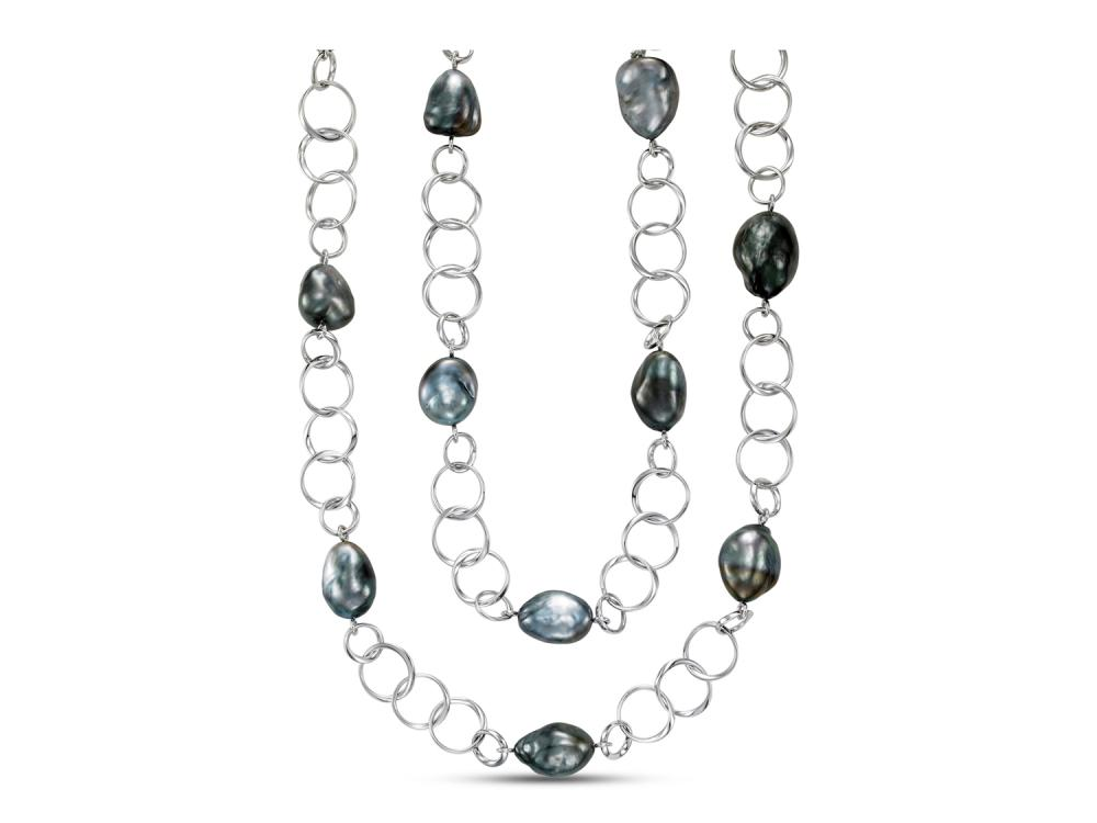 MASTOLONI - 18K White Gold 13-17MM Black Baroque Tahitian Pearl Necklace