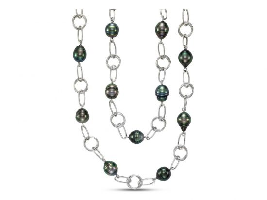 MASTOLONI - 18K White Gold 10-14MM Black Ringed Tahitian Pearl Necklace