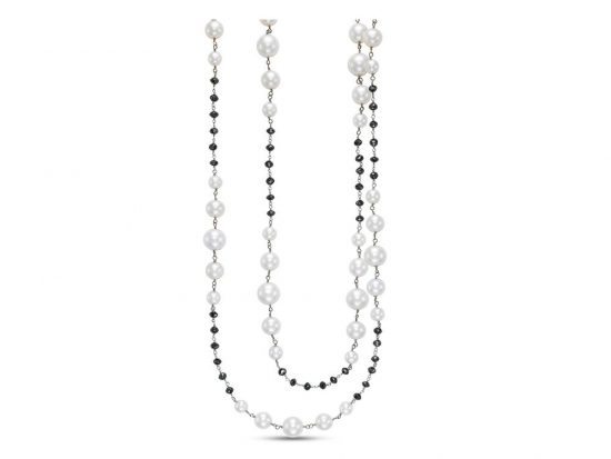 MASTOLONI - 18K White Gold 7-11MM White Round Cultured Pearl Necklace with 49 Diamonds 35.00 TCW 38-40 Inches