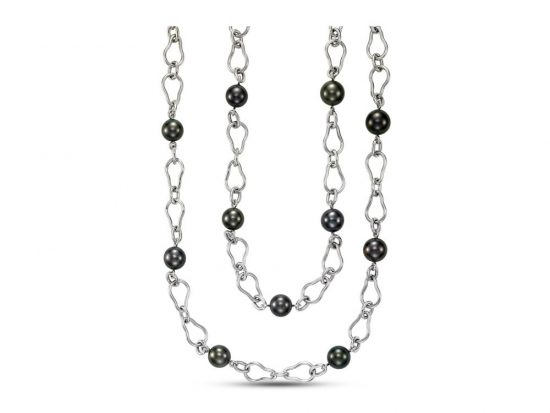 MASTOLONI - 18K White Gold 10-12MM Black Round Tahitian Pearl Necklace 32 Inches