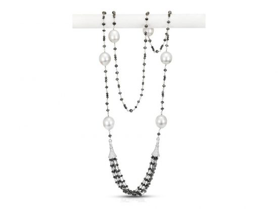 MASTOLONI - 18K White Gold 13-14MM White Drop Shaped South Sea Pearl Necklace with 398 Diamonds 68.37 TCW 34.5 Inches
