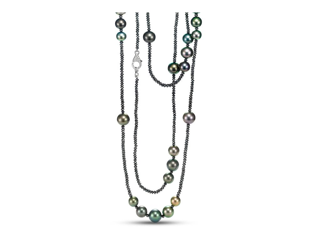 MASTOLONI - 18K White Gold 9-11MM Multiple Shades of Black Round Tahitian Pearl Necklace with Diamonds 65.39 TCW 42 Inches