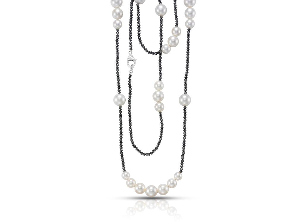 MASTOLONI - 18K White Gold 8-11.5MM White Round Cultured Pearl Necklace with Diamonds 65.39 TCW 42 Inches