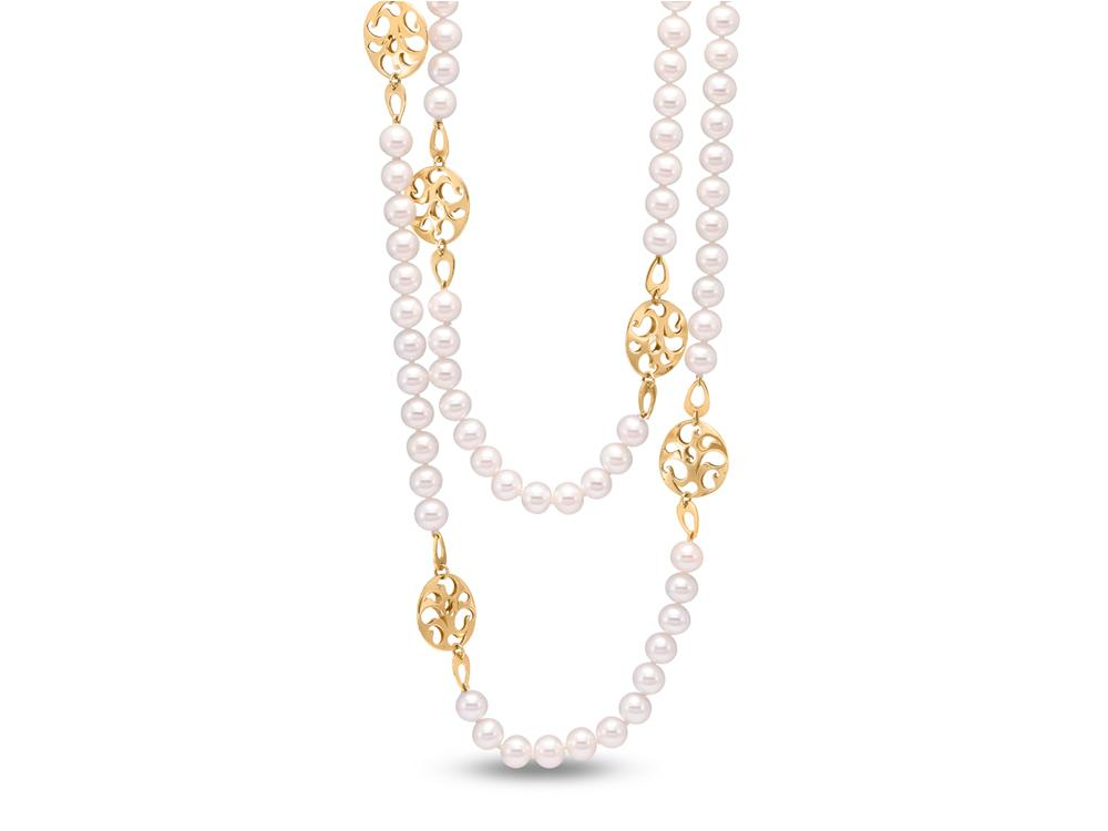 MASTOLONI - 14K Yellow Gold 6.5-7MM White Round Freshwater Pearl Necklace 38 Inches