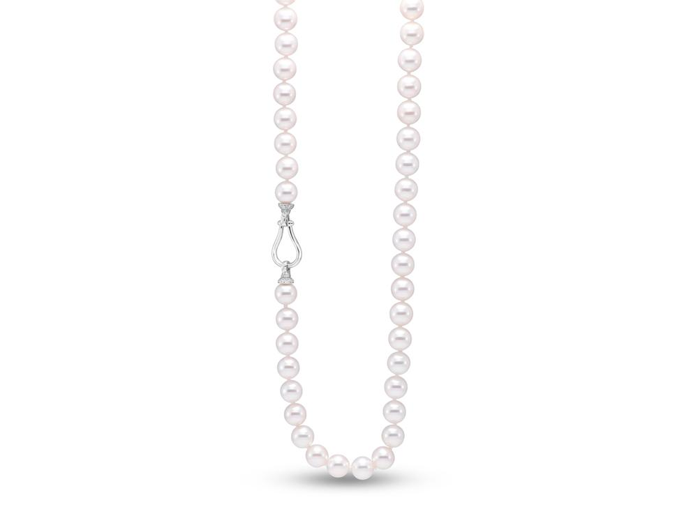 "MASTOLONI - 18K White Gold 8-8.5MM White Round ""A2"" Quality Akoya Pearl Convertible Necklace/Bracelet Combo with 84 Diamonds 0.60 TCW 26.5 Inches"
