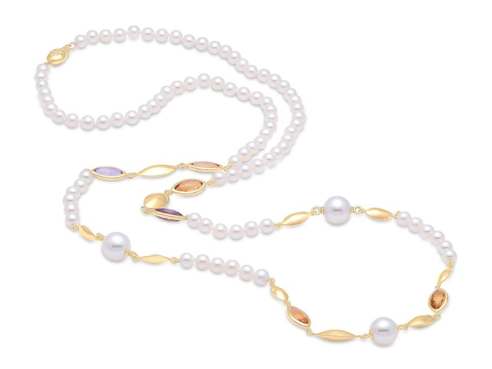 MASTOLONI - 18K Yellow Gold 4.5-5MM White Round Cultured Pearl Necklace 31 Inches