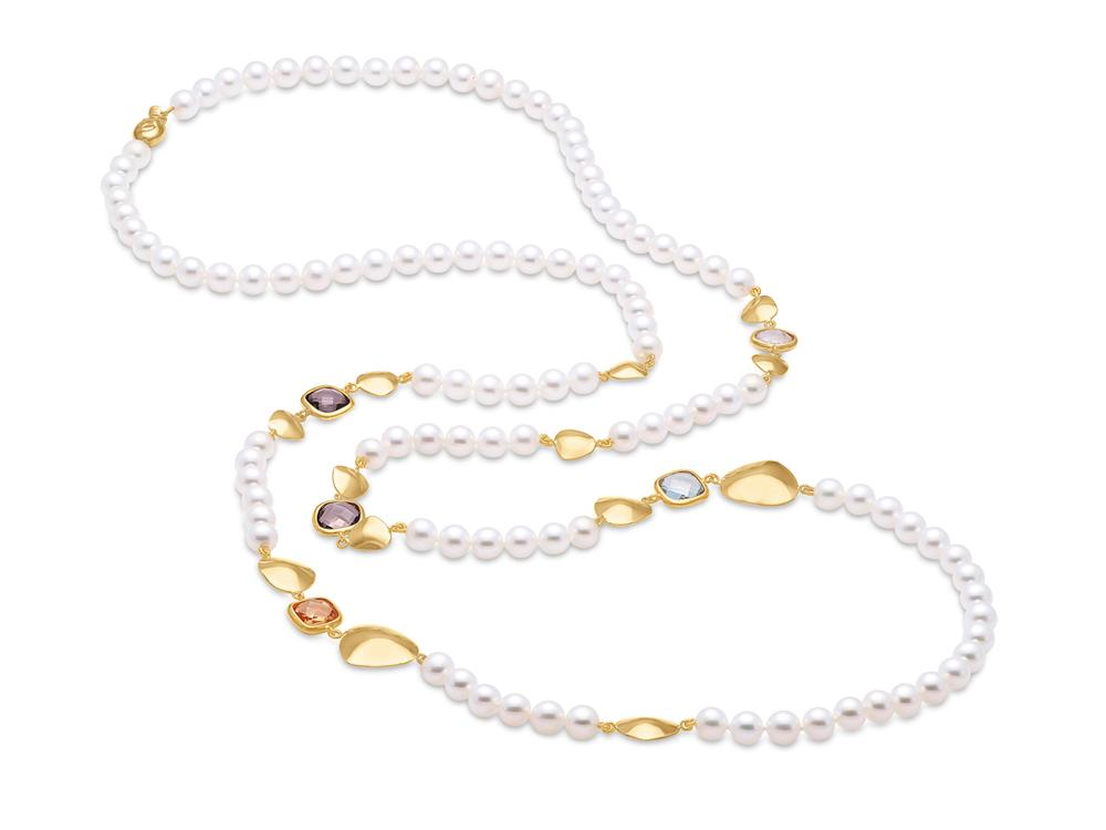 MASTOLONI - 18K Yellow Gold 6-6.5MM White Round Cultured Pearl Necklace with Semi Precious Stones 38 Inches