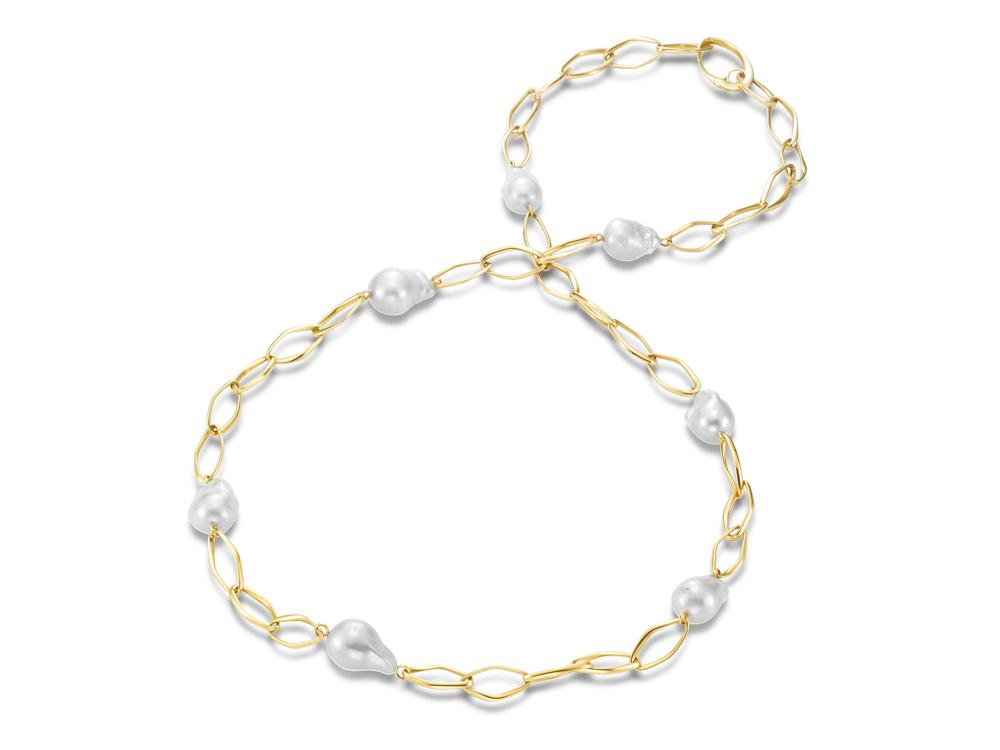 MASTOLONI - 18K Yellow Gold 15-18MM White Baroque Freshwater Pearl Necklace 38 Inches