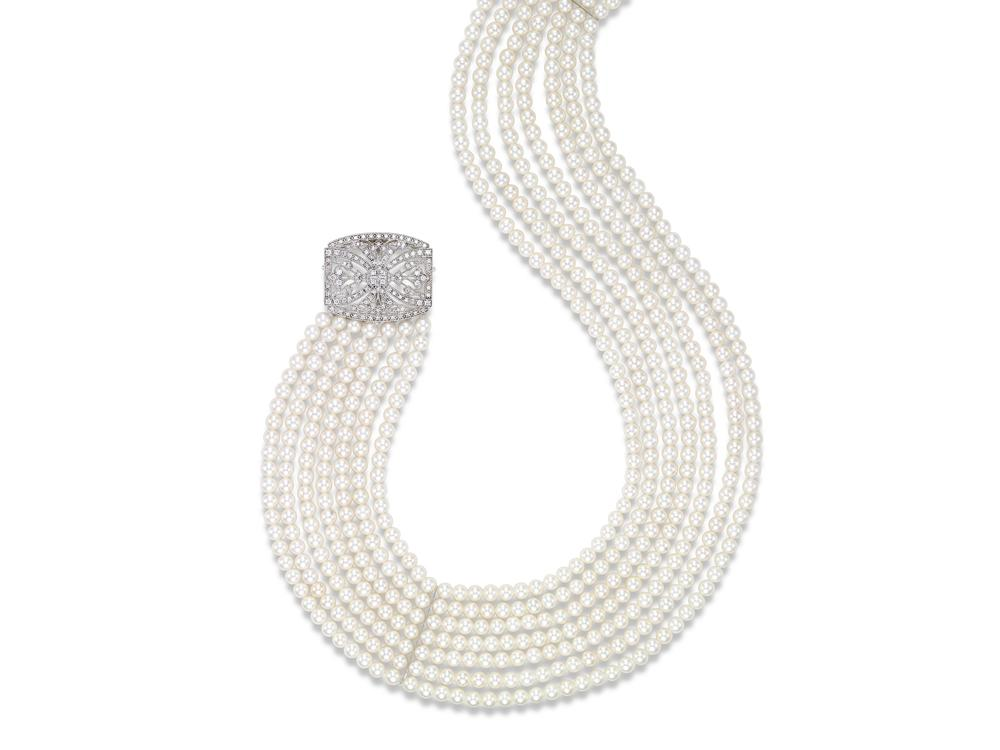 MASTOLONI - 18K White Gold 4-4.5MM White Round Cultured Pearl Necklace with 112 Diamonds 0.90 TCW 15.5 Inches