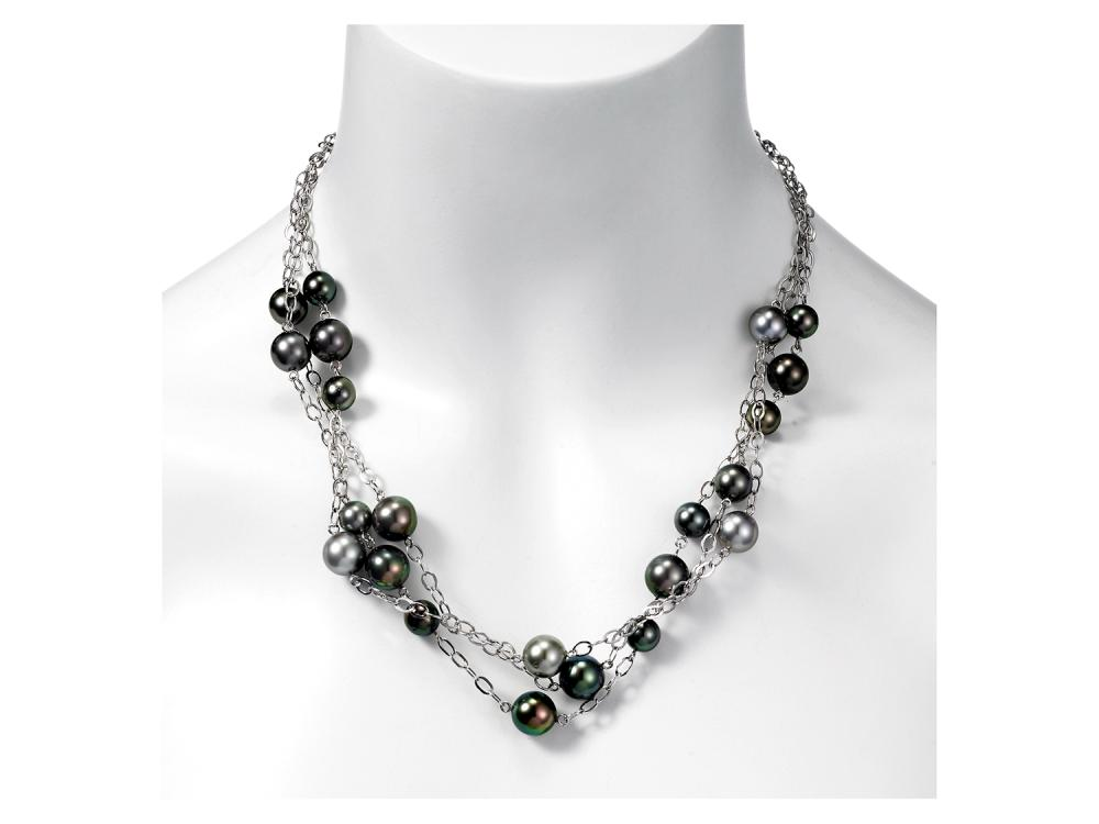 MASTOLONI - 18K White Gold 8-11MM Black Round Tahitian Pearl Necklace 17 Inches