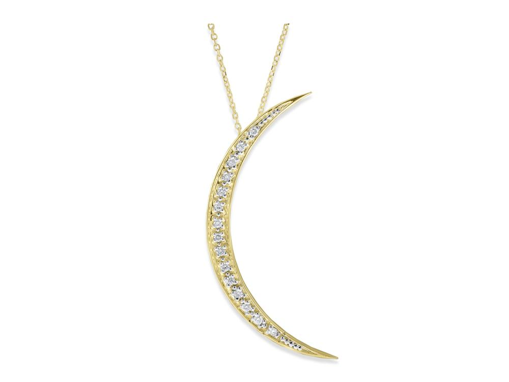 KC DESIGNS - Diamond Large Crescent Moon Necklace