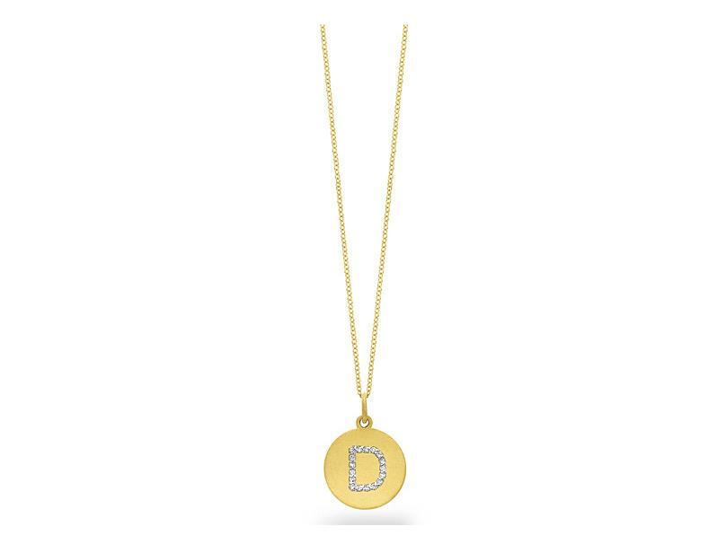 "KC DESIGNS - Diamond Disc Initial ""D"" Necklace"