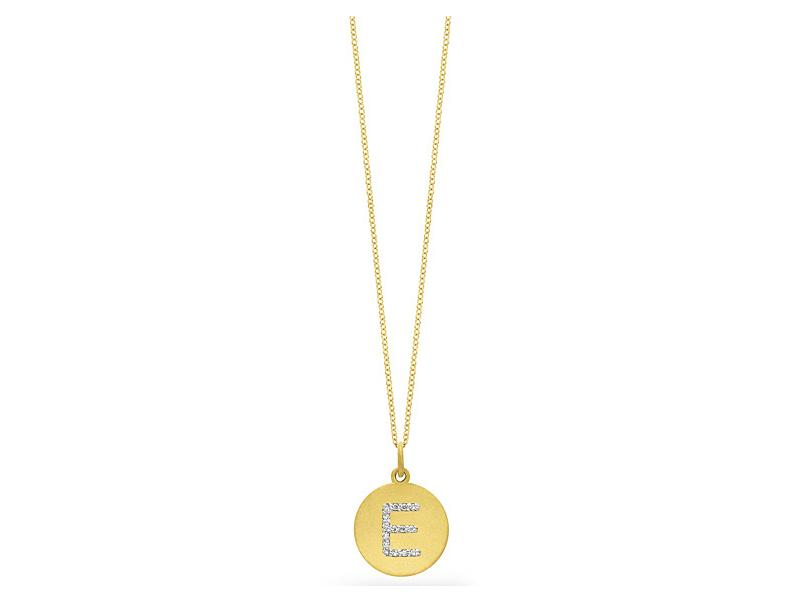 "KC DESIGNS - Diamond Disc Initial ""E"" Necklace"