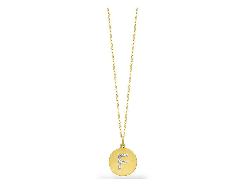 "KC DESIGNS - Diamond Disc Initial ""F"" Necklace"