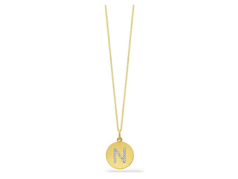 "KC DESIGNS - Diamond Disc Initial ""N"" Necklace"