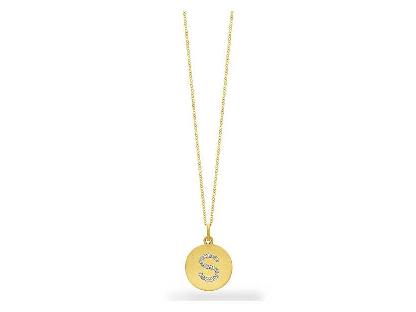 "KC DESIGNS - Diamond Disc Initial ""S"" Necklace"